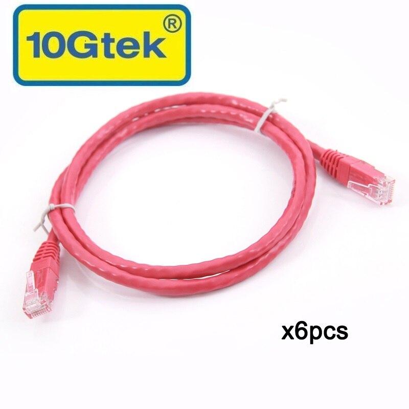 10Gtek CAT6 UTPパッチコード、RJ45ネットワークケーブル、赤、1メートル(3.3 Ft)、6個の24AWGパック、ギガビットイーサネットスイッチルーターイーサネットケーブル用