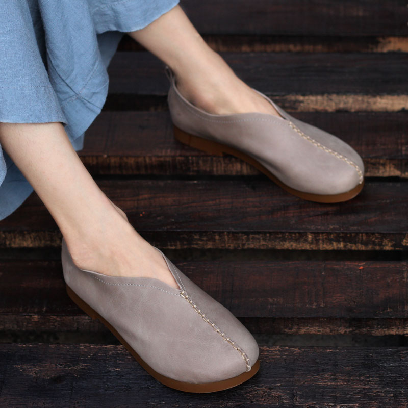 Shoes Woman Flats Casual Slip on Loafers Ladies Leather Flat Shoes Female Spring Autumn Footwear 2017(w128-3) new 2017 men s genuine leather casual shoes korean fashion style breathable male shoes men spring autumn slip on low top loafers