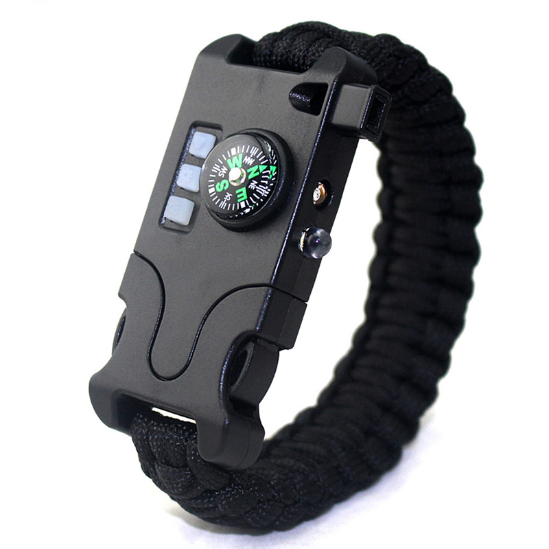 9436 Plastic Camping Rescue Tool Men/'S Buckle Compass Survival Bracelet Kit