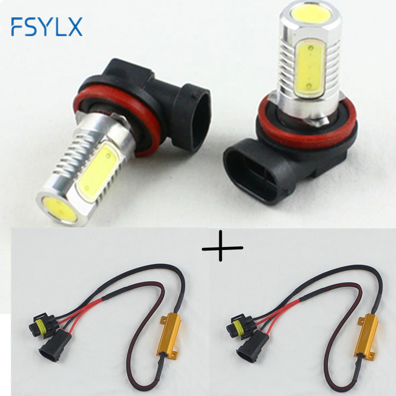 FSYLX 6000K Xenon White Powered By cob LED H11 H8 H9 H16(JP) Bulbs For Fog Lights Driving Lamps+ Error Free Canbus Decoders 1pcs h16 fog light 6500k xenon white 1440lm led bulbs for car drl lamp with canbus decoder error free load resistors harness set