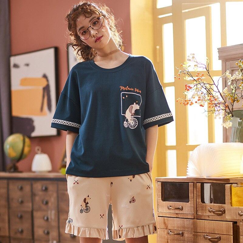 2019 Summer Short Sleeve Female   Pajama     Set   Kawaii Print Sleepwear for Women   Pajamas   short pant 2 Pieces   Set   Nightwear   Pajamas