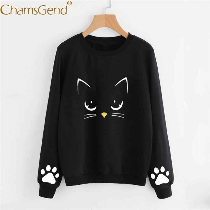 d9a77951049 Newly Design Women Girls Cute Cat Paw Print Pullover Sweatshirt Autmn  Winter Spring Round Neck Woman