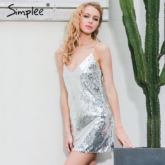 Simplee Deep v neck silver sequin sexy dress Women elegant evening party short dress Casual sleeveless summer dress vestidos