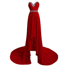 KapokBanyan Real Photo Dark Red Chiifon Sweetheart Prom Dresses 2017 Sweep Train Crystal Party Dress Fashion Robe de soiree