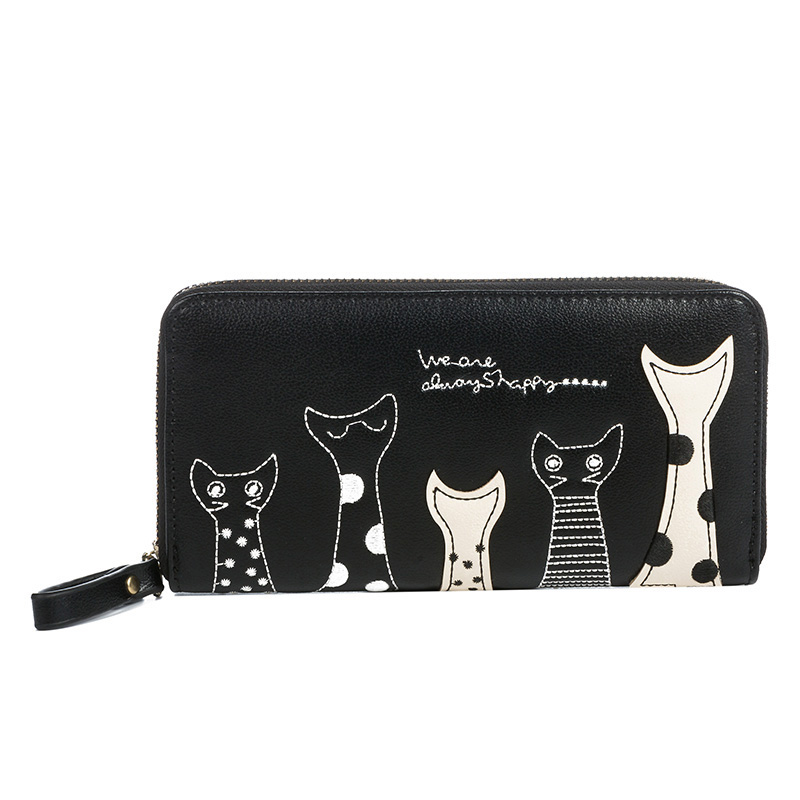 2017 New Cat Cartoon Printed Women Wallets Long Wallet Female Card Holder Casual Zipper Ladies Clutch PU Leather #16Wa31/9-2 j bg pink new 2017 women cute cat cartoon wallet long creative card holder casual ladies clutch pu leather coin purse