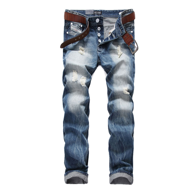 Newly Italian Designer Fashion Men Jeans Dsel Brand Ripped Jeans For Men Distressed Destroyed Biker Jeans Denim Pants 964-1 italian style fashion men jeans light blue color denim stripe ripped jeans men dsel brand street slim fit biker jeans trousers