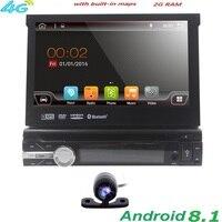 Single 1 Din 7 Android 8.1 GPS Flip Car Stereo Radio Player Touch Screen USB SD 2GRAM 4GWIFI BT SWC RDS DVR DAB DVBT MirrorLink