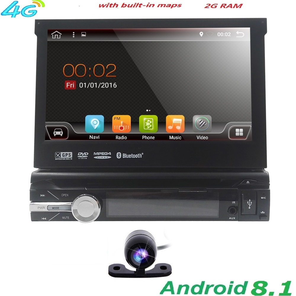 Unique 1 Din 7 Android 8.1 GPS Flip Voiture Stéréo Radio Player à Écran Tactile USB SD 2 GRAM 4 3GWIFI BT CFC RDS DVR DAB TNT MirrorLink