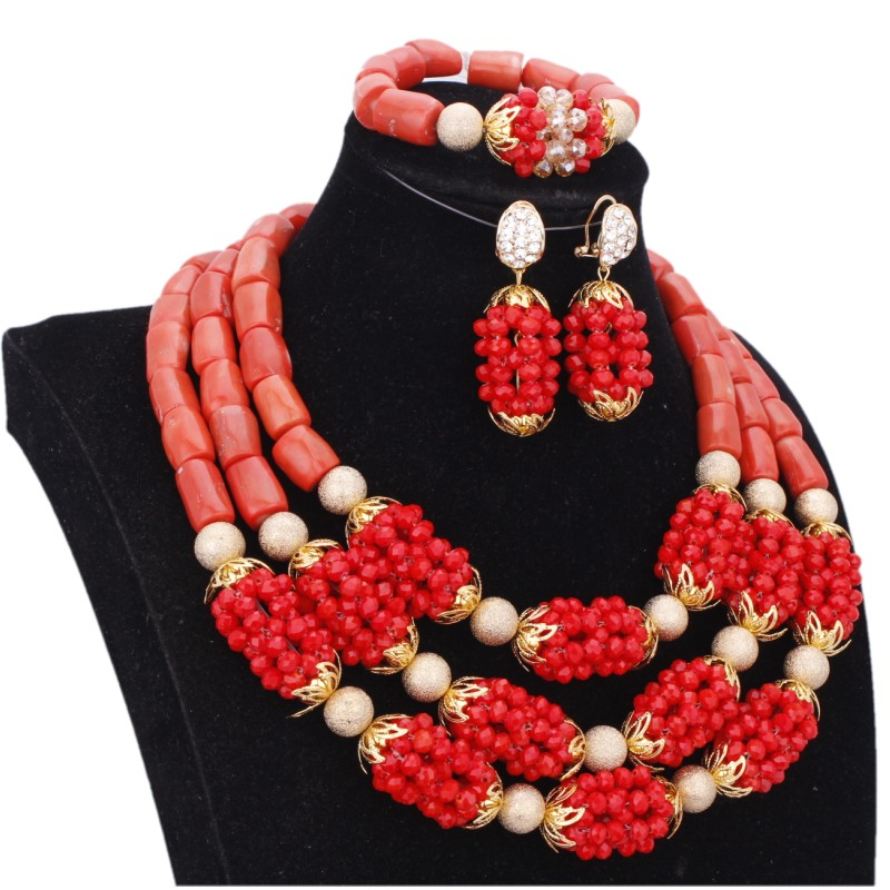 Dudo Set Jewelry For Women Necklace Earrings Set Bridal Red Gold Balls and Original Coral Jewellery Set African Free Ship 2018