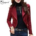TANGNEST Jaqueta Feminina 2016 New Women Slim Turn-Down Collar Jackets Casual Plus Size S-2XL Ruffles Long Sleeve Outwear WWJ384