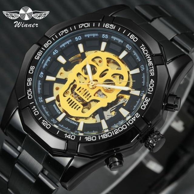 זוכה Steampunk גולגולת אוטומטי מכאני שעונים גברים שחור נירוסטה רצועת שלד חיוג אופנה מגניב עיצוב יד שעונים