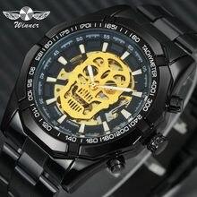 55c34c96 Победитель стимпанк череп автоматические механические часы мужские черные  нержавеющая сталь ремень Скелет циферблат модные дизайн наручн