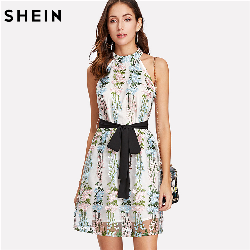 SHEIN Embroidery Women Dresses Sleeveless Multicolor Belted Fit and Flare Party Dress Applique Mesh Overlay Halter