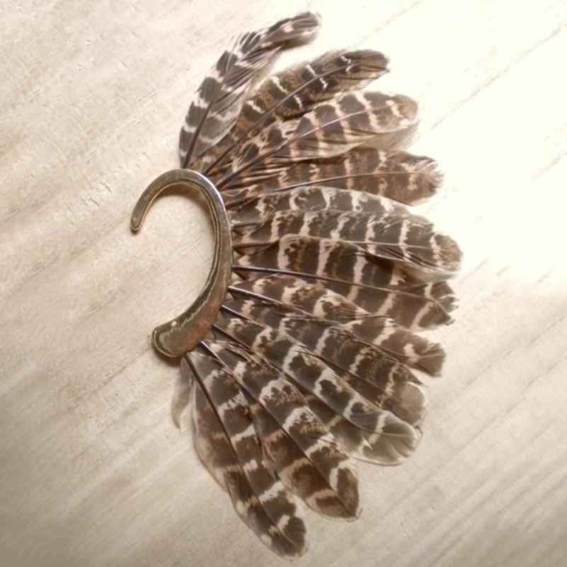 Muoti iso sulka leopardi korvakoru kulta clip korvakorut naisille - Muotikorut - Valokuva 4