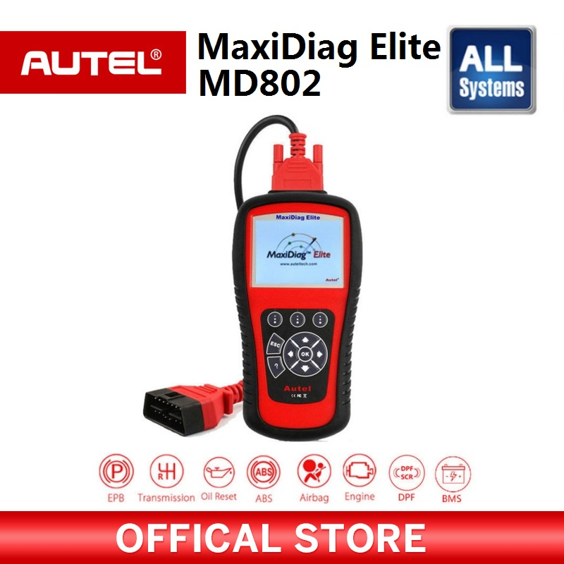 AUTEL MaxiDiag Elite MD802 все системы автомобиля детектор OBDII code reader Сканер для EPB масла сброса OBD2 инструменту диагностики PK MD805