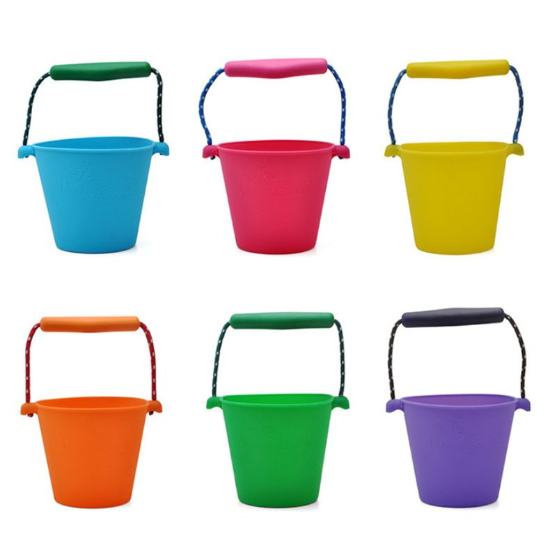 Children Baby Shower Bucket Bath Beach Toy Folding Handheld Silicone Barrel Pouring Water Sand Kids Popular Gift
