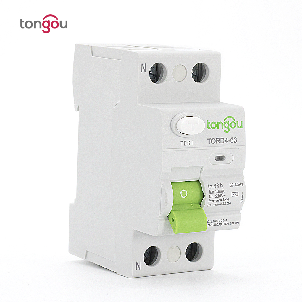 AC 2P 63A RCCB RCD 110V 230V 10mA Electronic type Residual Current Circuit Breaker TORD4-63 400 amp 3 pole cm1 type moulded case type circuit breaker mccb