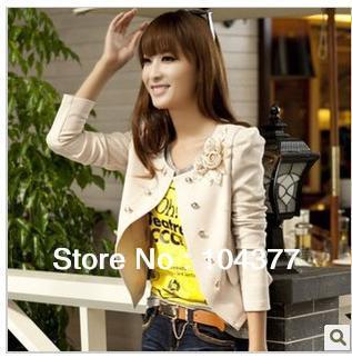 Free shipping!!!2013 spring and autumn women's suit outerwear female slim short blazer design long-sleeve short jacket