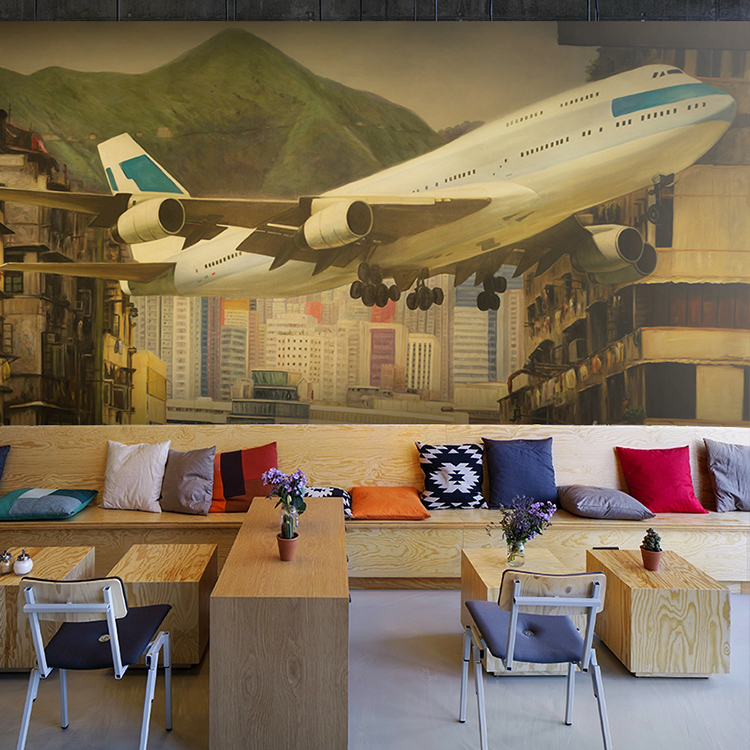 Buy free shipping 3d stereoscopic for Aviation wall mural