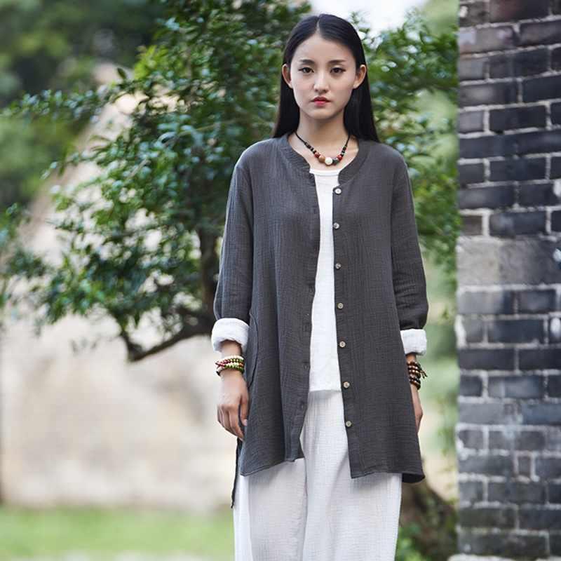 リネンシャツ女性の伝統的な中国シャツブラウスレディースリネン服着物女性 2018 カーディガンチャイナトップ TA989