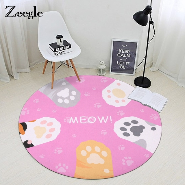 Zeegle Cat Claws Printed Round Carpets For Living Room Computer ...