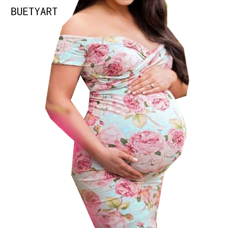 BUETYART New Summer Women Floral Pregnants Dress Sexy Photography Props Dresse Long Maxi Off Shoulders V Neck Maternity Go