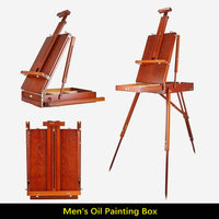 Walnut Color Pine Wood Stand Easel For Painting Portable Folding Easel Box Adjustable Picture Frame Art Easel