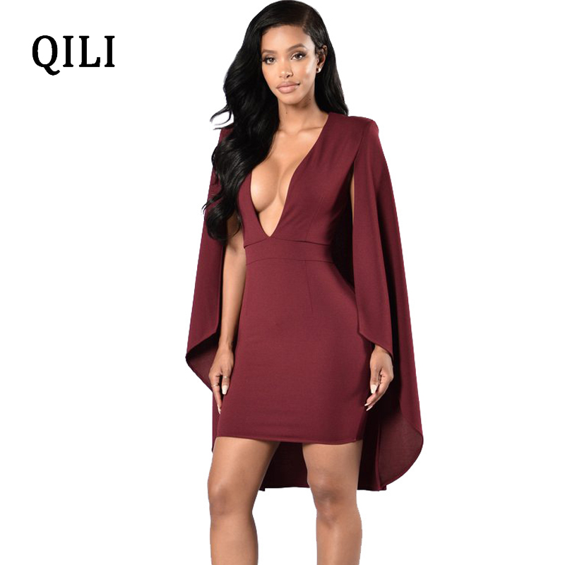 QILI Women Wind Red Black Cloak Dress Sexy Deep V Neck Party Club Dresses 2018 Autumn New Fashion Midi Bodycon Dress in Dresses from Women 39 s Clothing