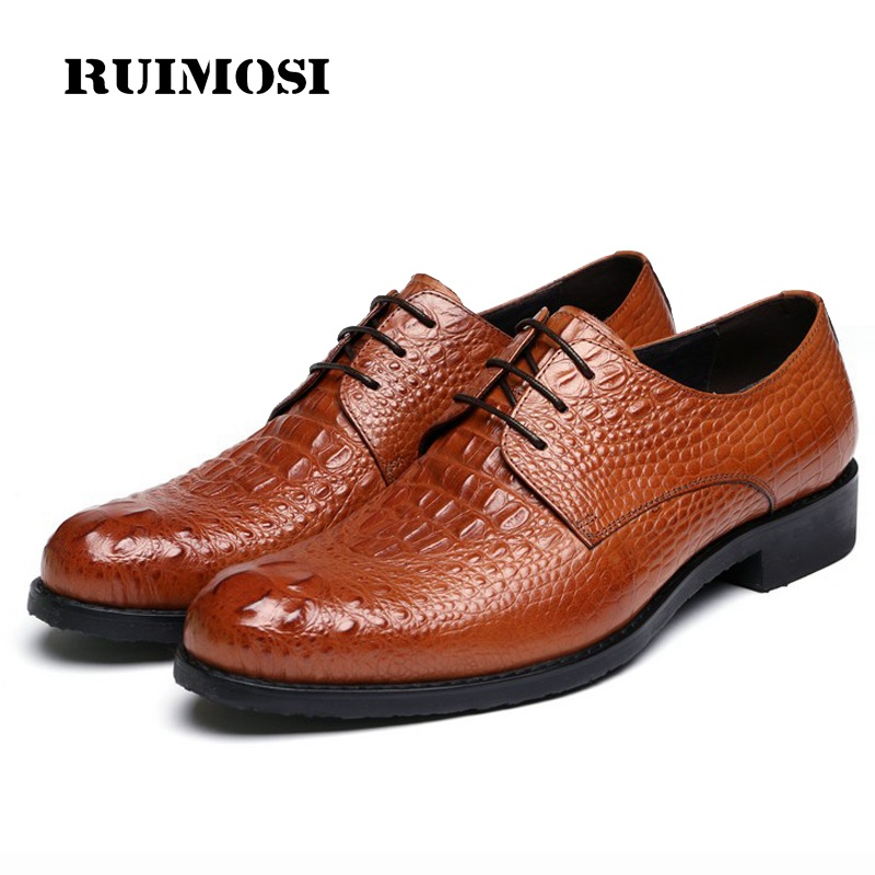 RUIMOSI Formal Man Crocodile Derby Dress Shoes Male Genuine Leather Designer Oxfords Luxury Brand Men's Handmade Footwear IH68