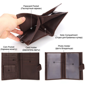 Image 4 - GENODERN funda de pasaporte para hombre, cartera funcional grande con soporte para pasaporte, monedero, organizador de carteras