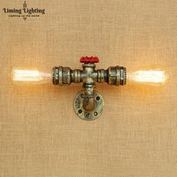 Loft Style Iron Water Pipe Lamp Edison Wall Sconce RH Retro Wall Light Fixtures For Home Vintage Industrial Lighting-in Wandleuchten aus Licht & Beleuchtung bei