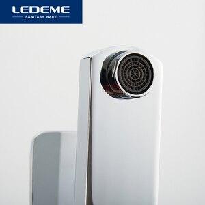 Image 4 - LEDEME robinets de lavabo finition mitigeur, pilier carré en laiton chromé de créateur, eau moderne cascade L1033