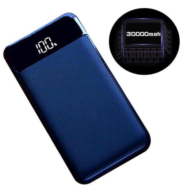 30000 мАч Внешний аккумулятор PoverBank 2 USB lcd power Bank портативное зарядное устройство для мобильного телефона Xiaomi Mi iphone XS Max 7 8
