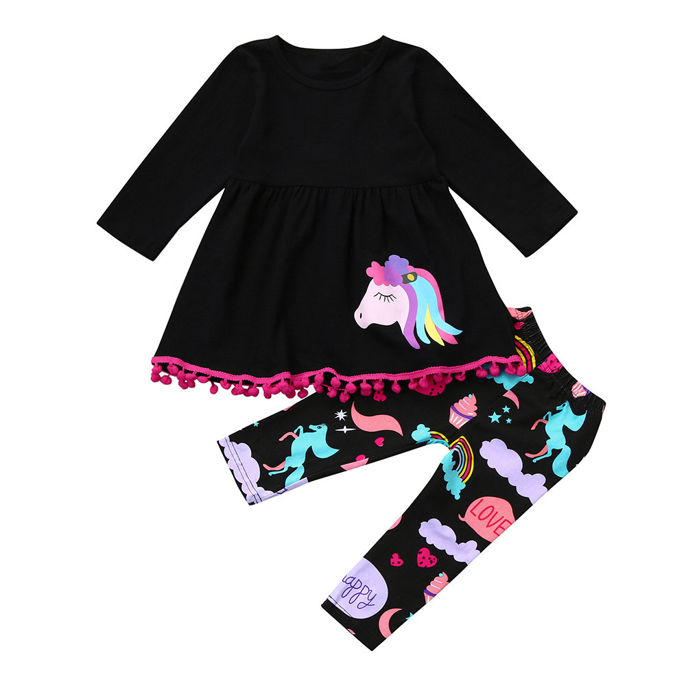 2018 Rainbow Horse Kids Baby Girls Outfits Clothes T-shirt Top Dress+Long Pants Set clothing children For 18Months-5Years P5