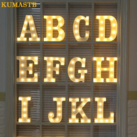 White Plastic Letter Lamp Marquee Sign Alphabet Lights Children Room Party Club Bar Christmas Decorative LED Letters Night Light