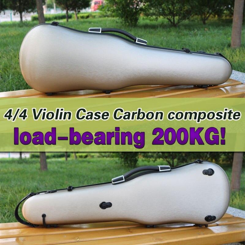 Yinfente 4/4 скрипка случае углеродного волокна с ремешком сзади Футляр цвета розового золота сильный может поместить два Луки