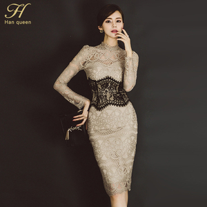 Image 5 - H Han Queen Women Elegant Sexy Lace Bodycon Vestidos 2019 Spring Hollow Out See Through Pencil Dress Patchwork Slim Sheath Dress