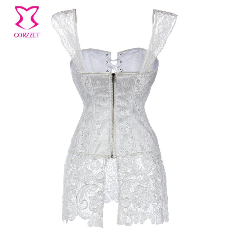 XS 6XL White Brocade Hollow Out Lace Victorian Gothic Dresses Sexy Short Corset  Dress Plus Size Corsets And Bustiers With Straps-in Bustiers   Corsets from  ... df9bb001f2bd