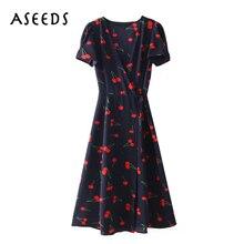 2018 elegant cherry print bohemian beach dress women Summer dress Sexy deep  v neck short sleeve ... 4a715e184493