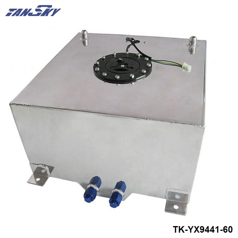 60L POLISHED ALUMINUM RACING/DRIFT/STREET FUEL CELL GAS TANK+LEVEL SENDER TK-YX9441-60 40l aluminium fuel cell tank polished twin an 10 outlets 10 gal tk yx9440 40