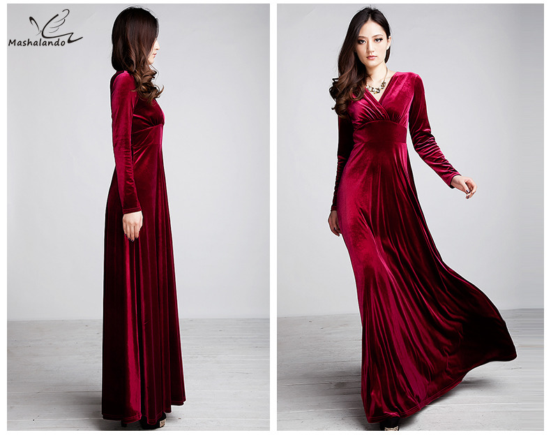 93038dc9dc Long Dres Plus Size S~3XL Women Winter Dresses Long Sleeve V Neck ...