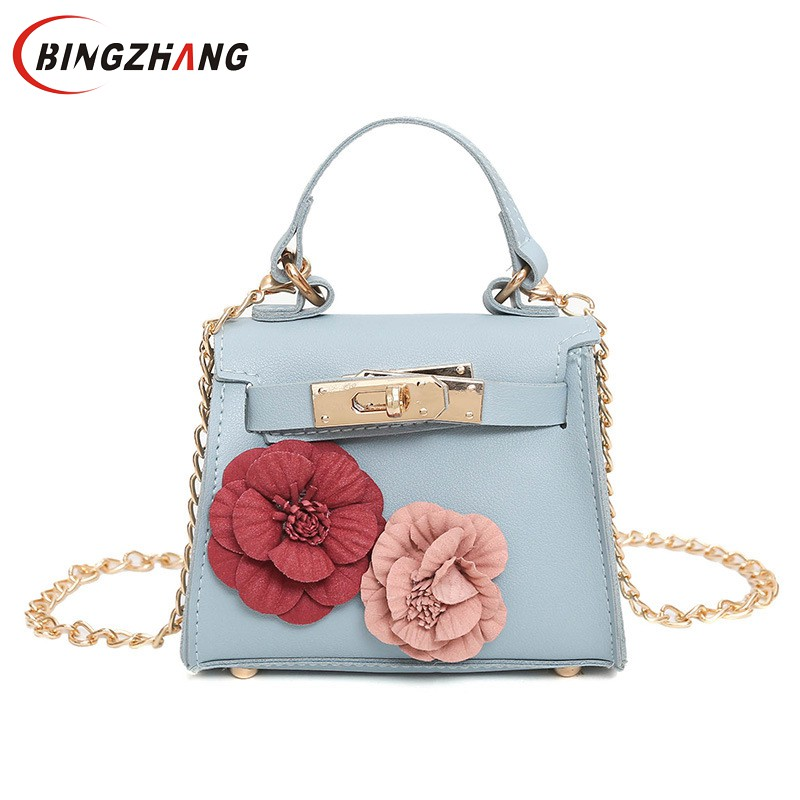 Women Mini Shoulder Bags Flower PU Coin Purse Party Handbags Teenager Girls Messenger Bags Long Strap Crossbody Bag L4-3101