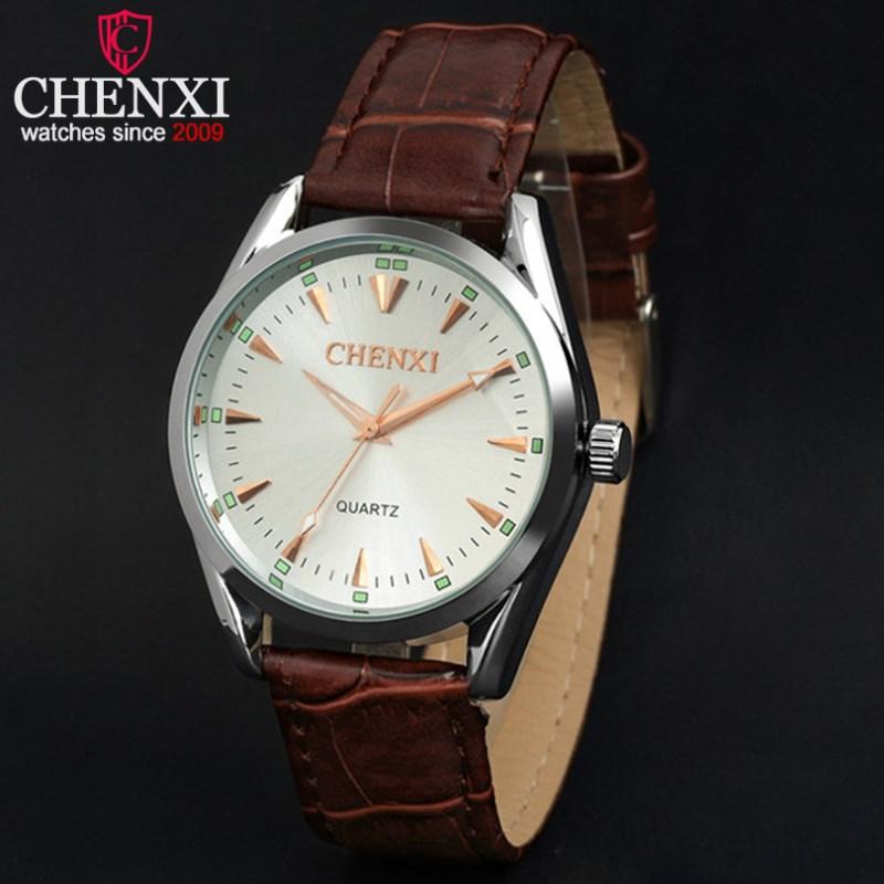 CHENXI Watch Men Brand Brown Leather Sport Quartz Watches Fashion Steel Quartz Clock Life Waterproof Male Wristwatch NATATE