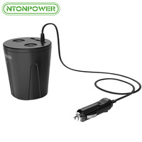 NTONPOWER 12V Output USB Car Charger Cigarette Lighter Adapter Fast Charge Multi Function Cup Docking For