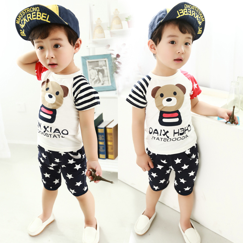 866a6a6bf211a Free shipping 2018 new summer children's sets short sleeved 2pcs suit baby  clothes