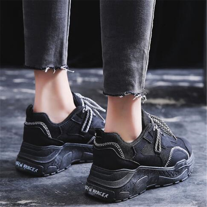 DIWEINI 2019 New Leather Mesh Women's Platform Sneakers Fashion Women White Black Dad Shoes Woman Casual Chunky Trainers C006
