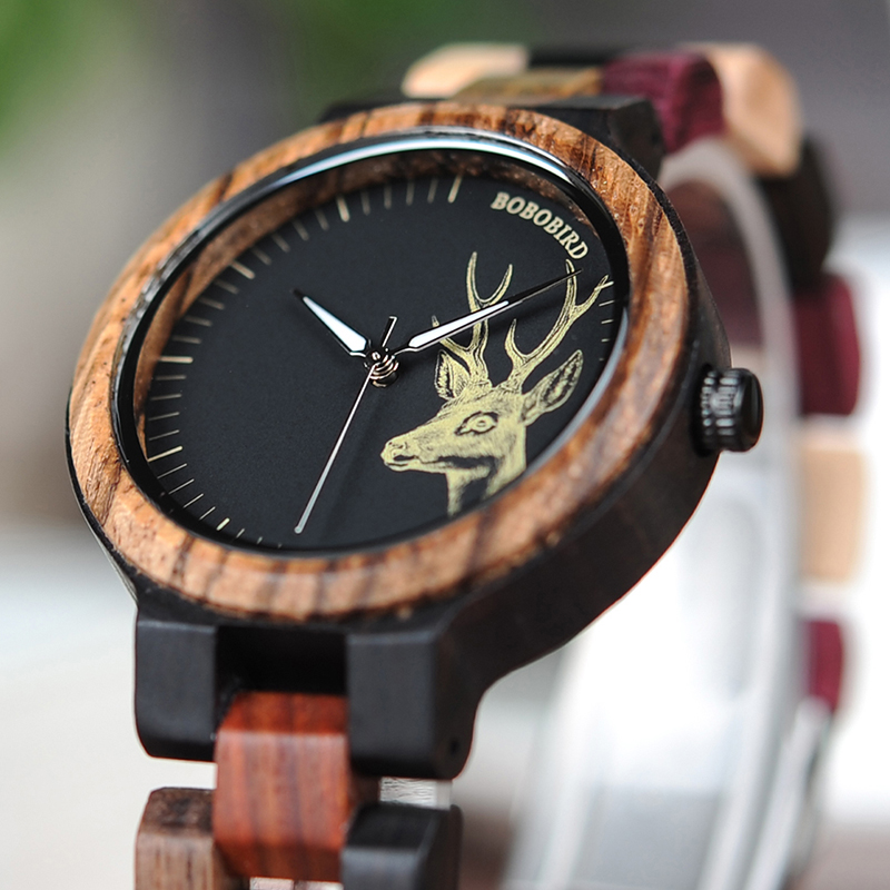 Natural Wooden Elk Dial Watch in Wood Gift Box 3
