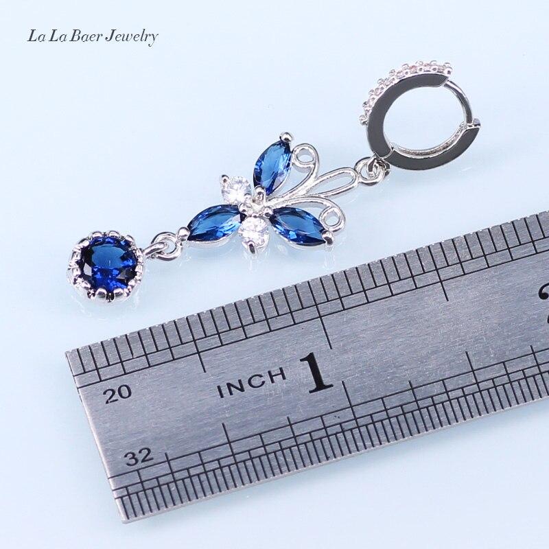 L & B Blanco Circón Azul Cristal 925 Logo Color de la Hoja de Plata Pulsera de L