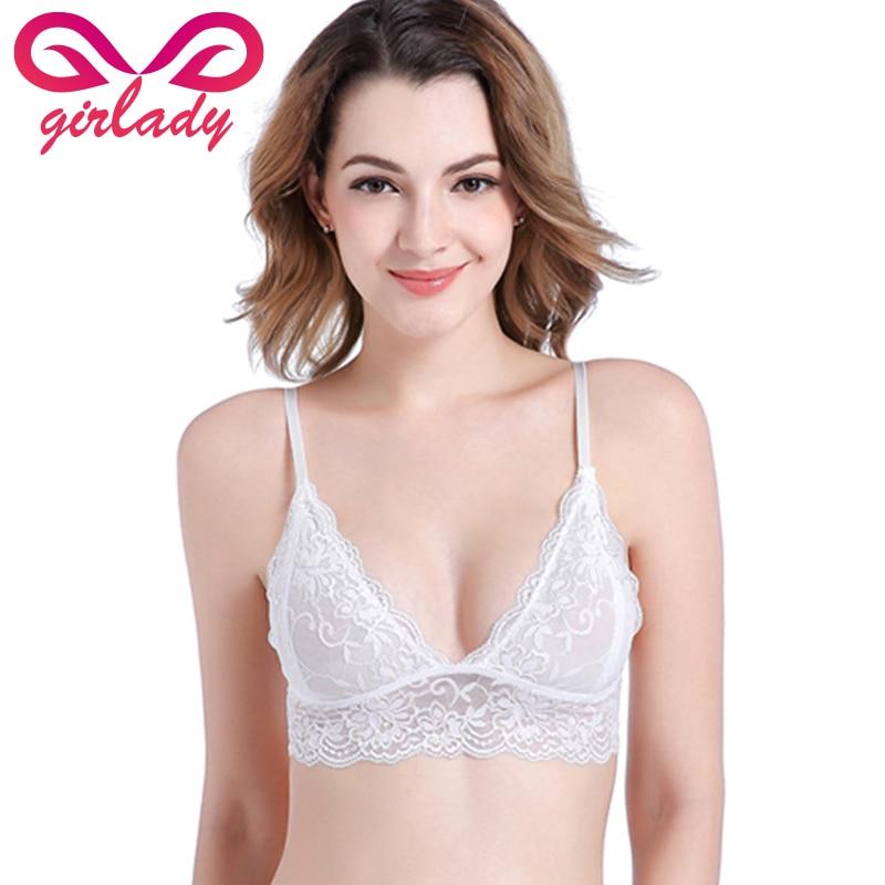 GIRLADY 2018 Women Lace Bra Sexy Deep V Seamless Bra Back Closure Floral Brassiere Underwear Female Triangle Cup Intimates Femme