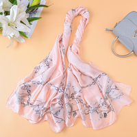 2018 New Brand Design pink Color Scarves Women's Chian Print Silk Scarf For Lady Beach Cover Shawls Wrap bandanas Big Scarf